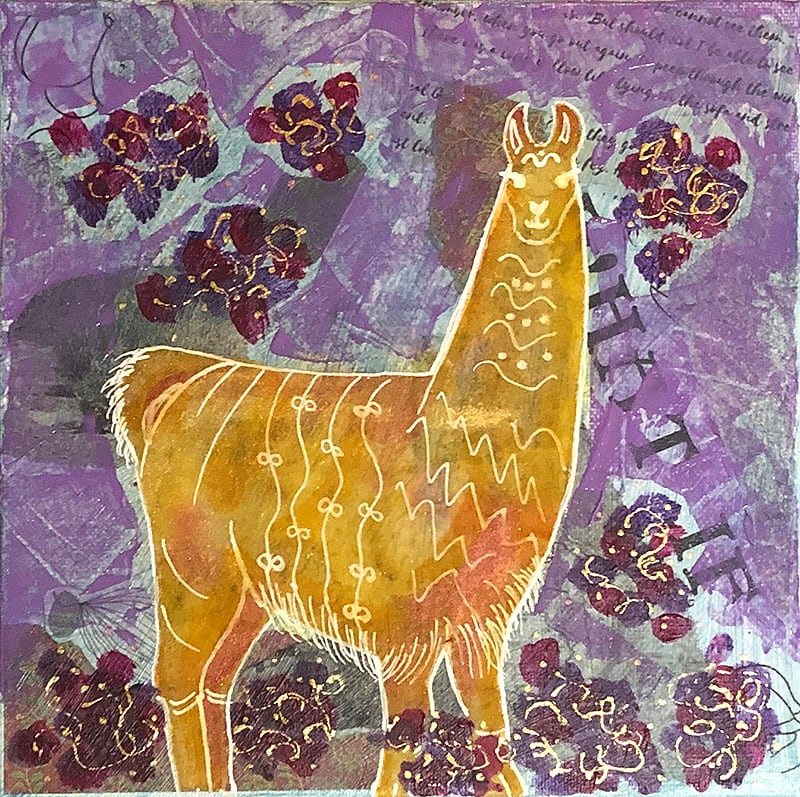 Alison-llama painting from kellie day program