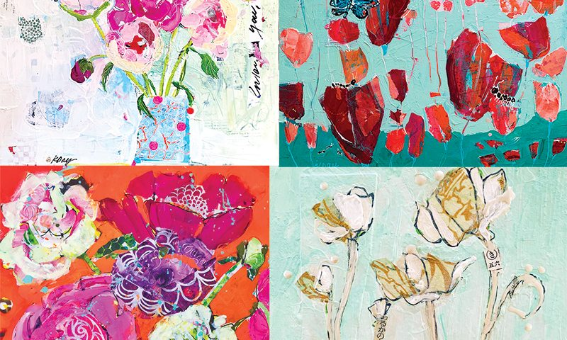 painting flowers with mixed media by kellie day