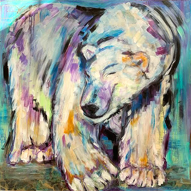 Erin polar bear painting from kellie day class