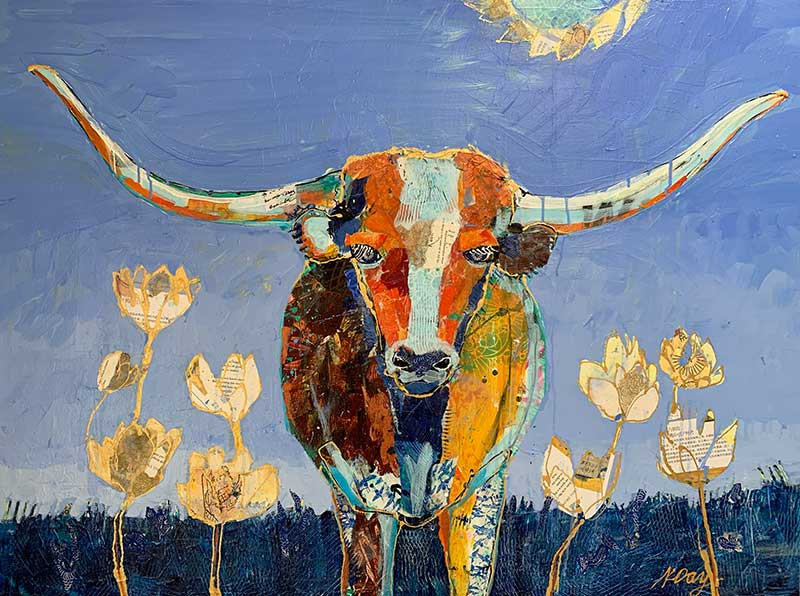 Texas-Longhorn painting by Kellie-Day