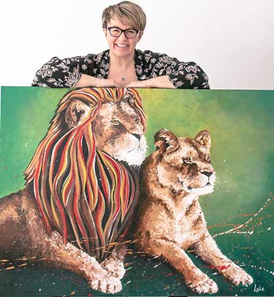 Nathalie-with-Lions painting -kellie day art student
