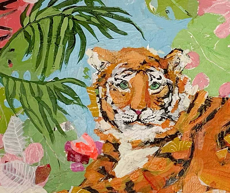 Detail of Tiger at rest painting © Kellie Day