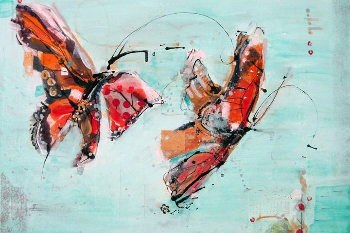 """Delicious Struggle, mixed media on canvas, 24"""" x 18"""", ©Kellie Day, Donation for Telluride AHHAA Art Auction 2012"""