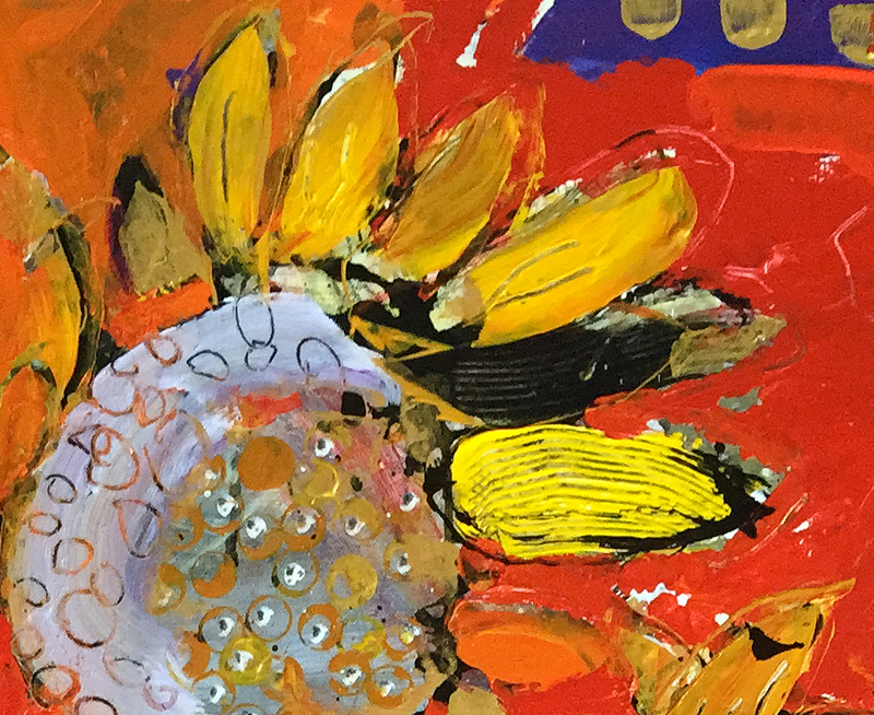 detail of sunflower painting ©Kellie Day