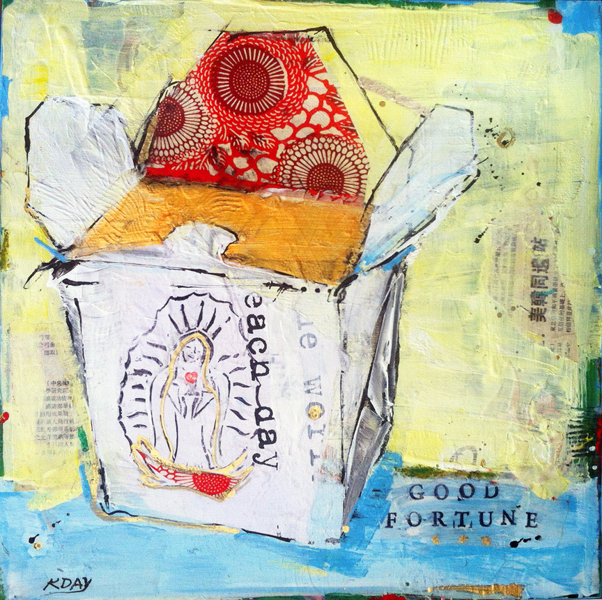 "Good Fortune, 16"" x 16"" mixed media on canvas, $500 by Kellie Day ©2014"