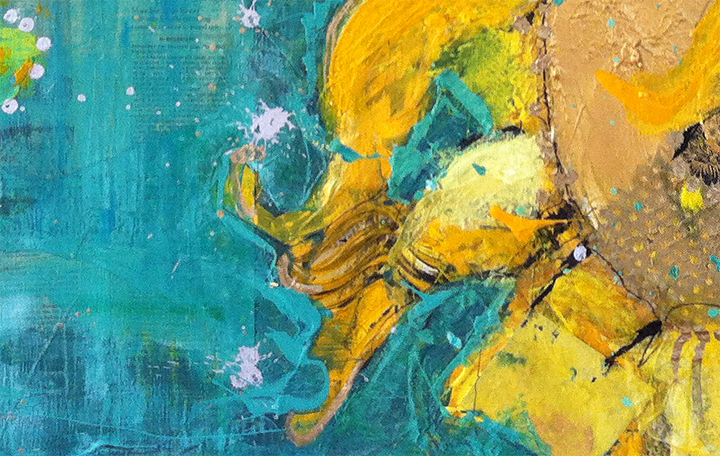 Detail of Into the Light, mixed media sunflower painting by Kellie Day