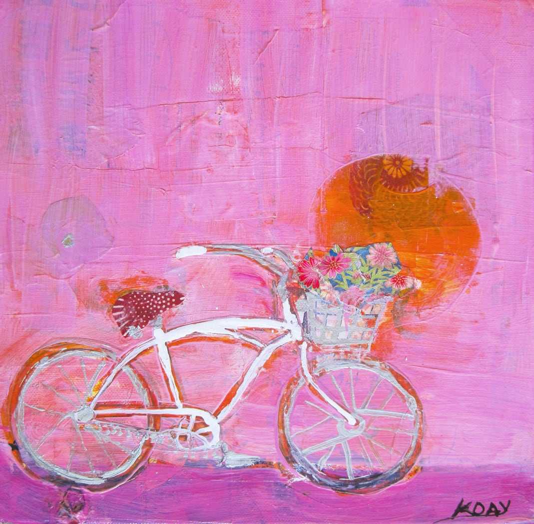 """Lucky Bike, mixed media on canvas, 10"""" x 10"""", ©Kellie Day"""