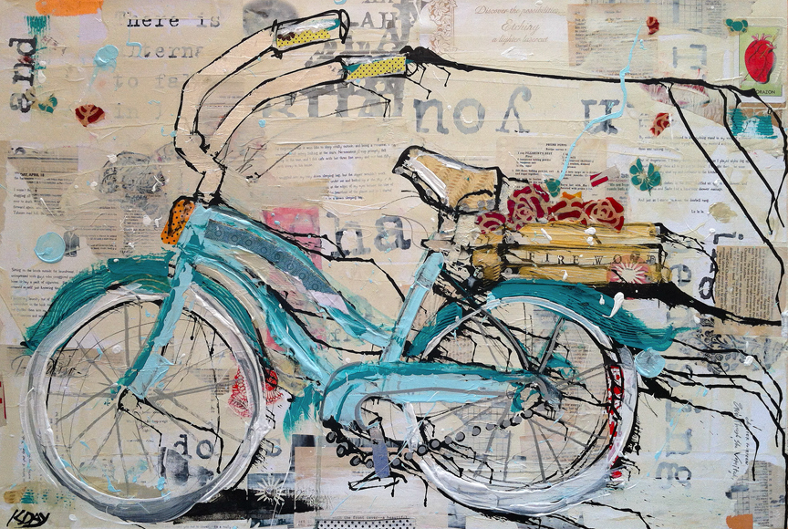 "Prune Puffs, 36"" x 24"" mixed media on canvas by Kellie Day ©2014 bike painting"
