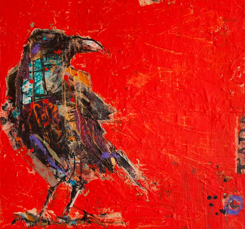 Tadasana Crow, mixed media raven painting ©Kellie Day