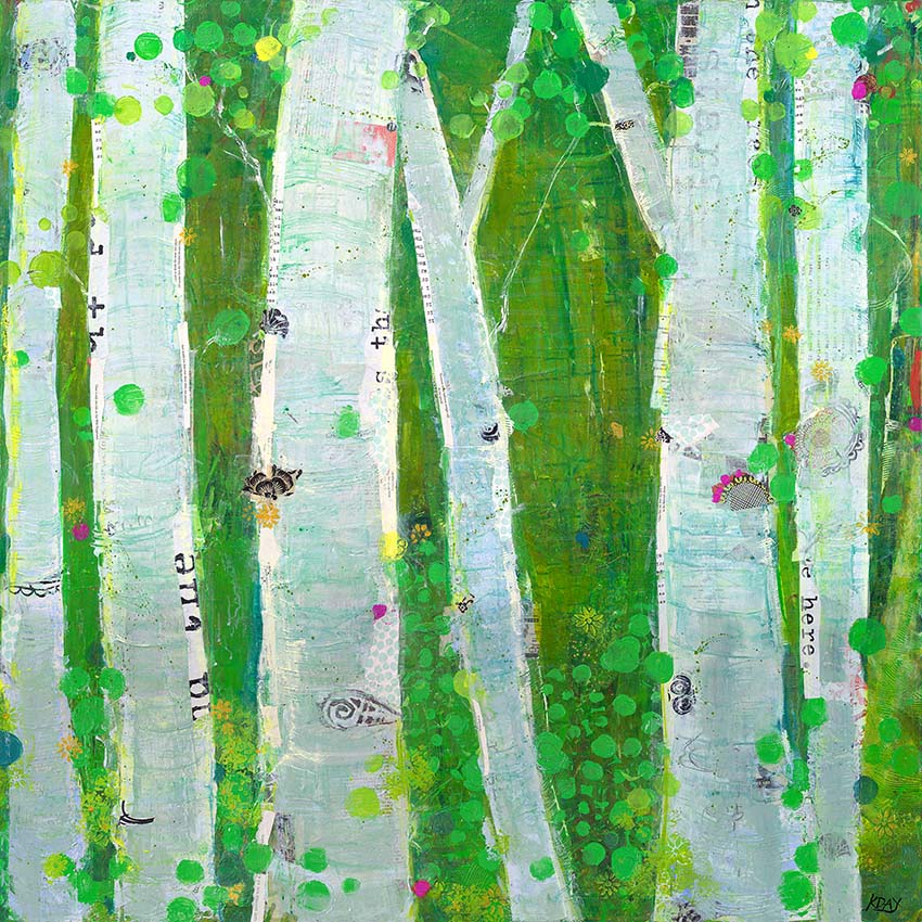 This Wild Playground, 4'x4', mixed media on canvas, Available ©Kellie Day