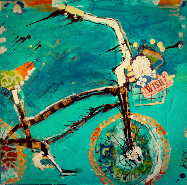 "WISH, 12"" x 12"" bike commission by Kellie Day, ©2014"