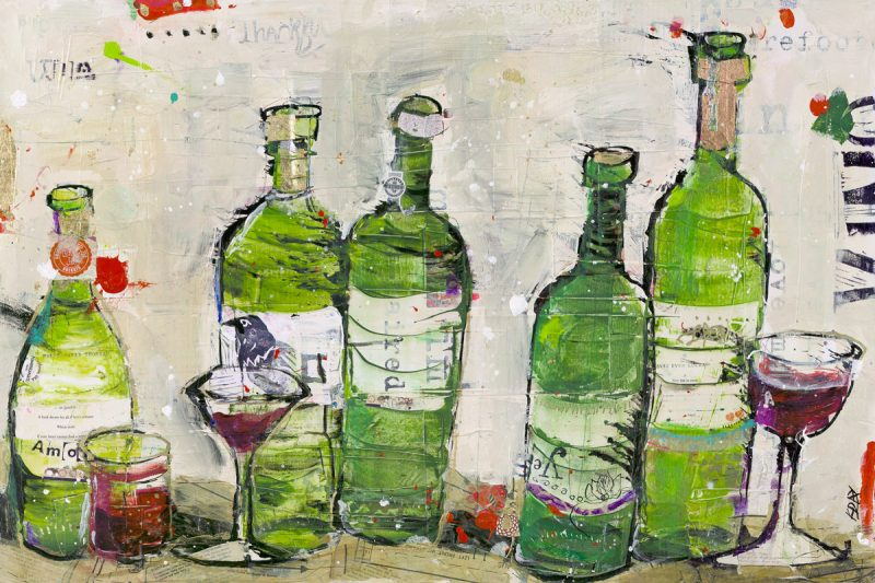 "Win Win, mixed media wine painting, 36"" x 24"" ©Kellie Day, $1,500"