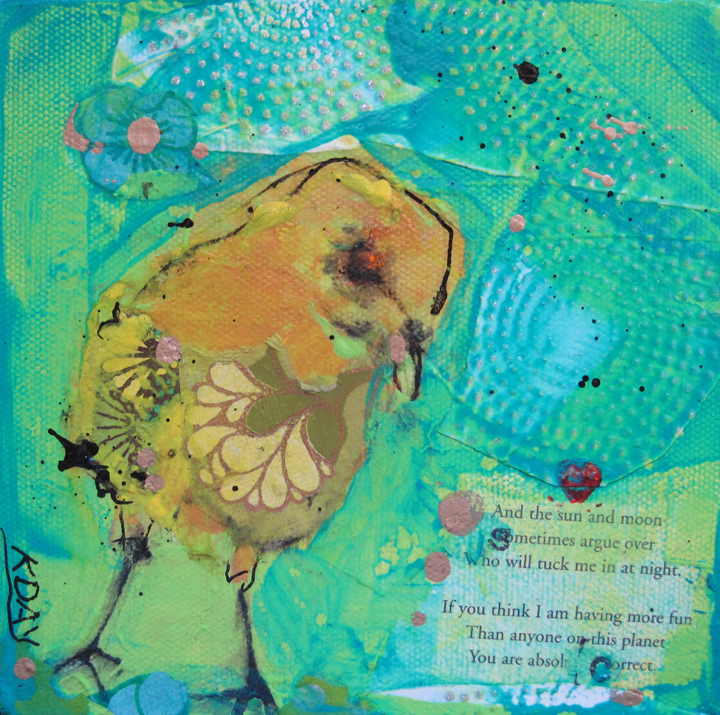 """Axel, 6"""" x 6"""", mixed media on canvas by Kellie Day, ©2013"""