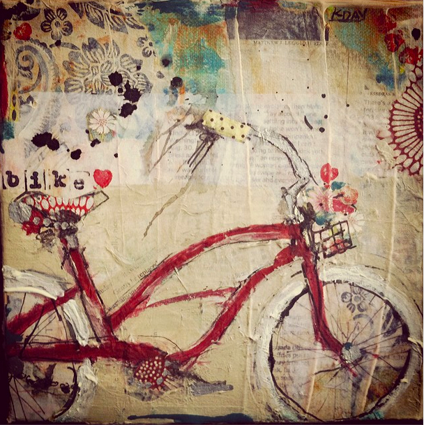 """Bike, 8"""" x 8"""" mixed media on canvas by Kellie Day , ©2014"""