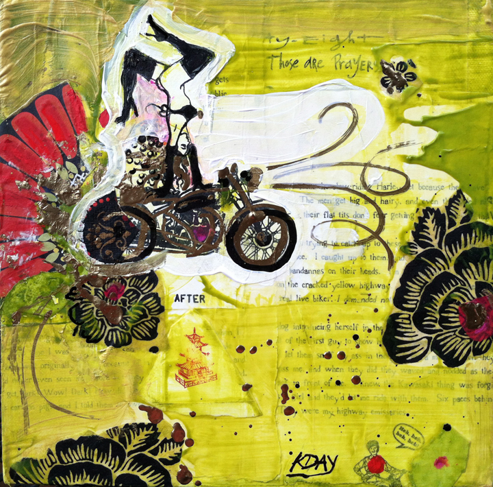 """Can't a Girl Just Have Fun?, collage on canvas by Kellie Day, ©2013, 10"""" x 10"""""""