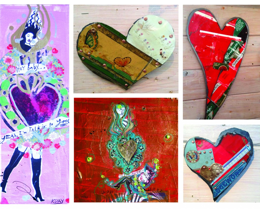 Heart artworks by Jill Rikkers and Kellie Day