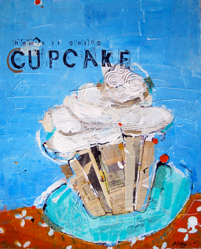 How's it Going Cupcake, mixed media restaurant commission