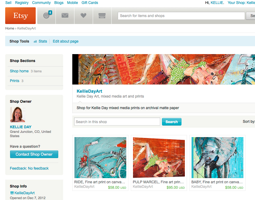 You can now buy prints on canvas at Kellie Day's Etsy shop!