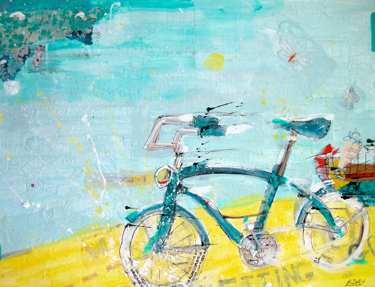 Letting Go, vintage bicycle painting©Kellie Day