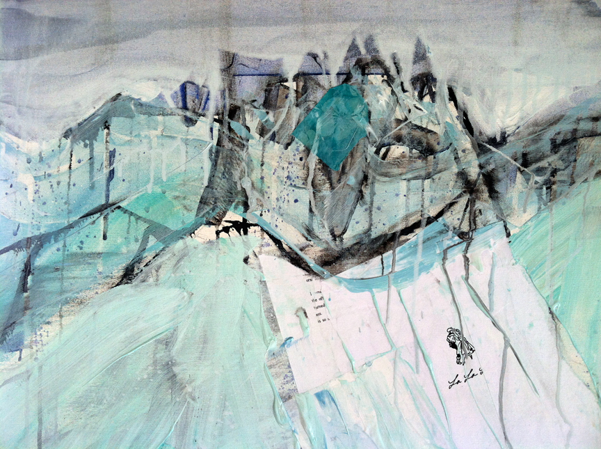 Detail of a mountain landscape, commission in progress