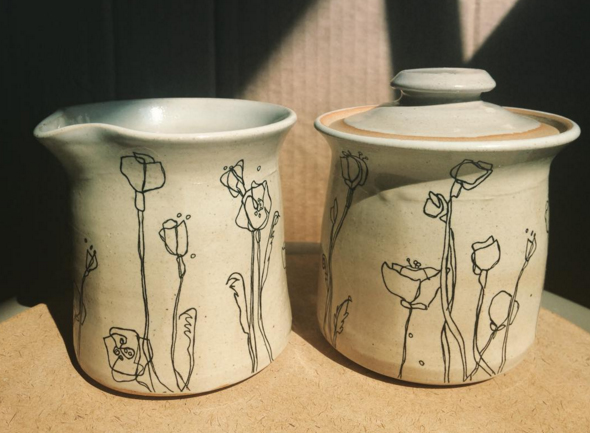 My poppy illustrations on the lovely ceramic works of Wishing Star Pottery