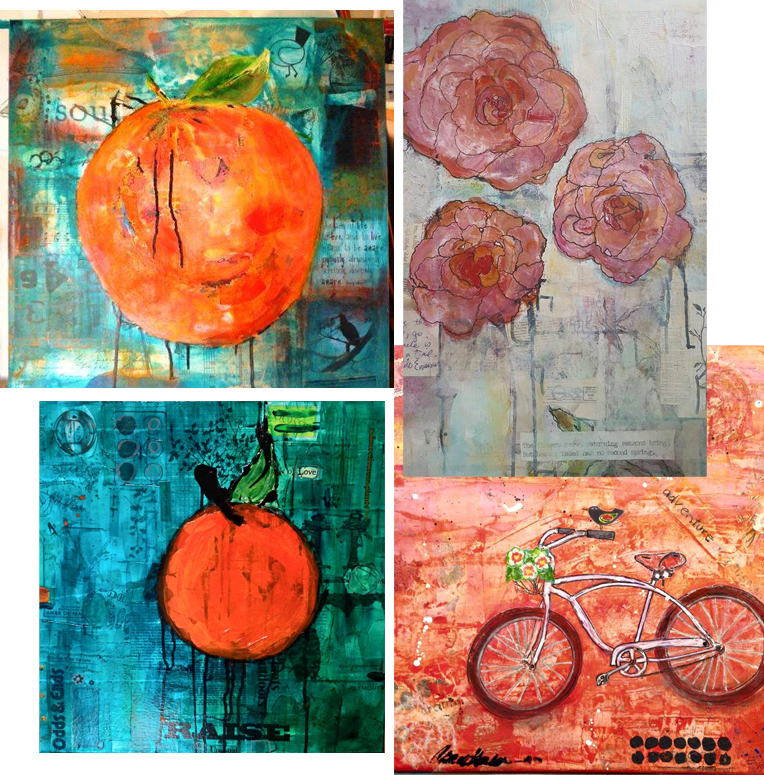 Student work from Pedal to Petal e-course by Wanda Miller, Mary Lawrence, Rachel Ingrid and Carol Harlen
