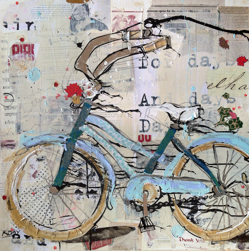 "Take Me Home, mixed media on canvas bike commission by Kellie Day ©2014, 30"" x 30"""