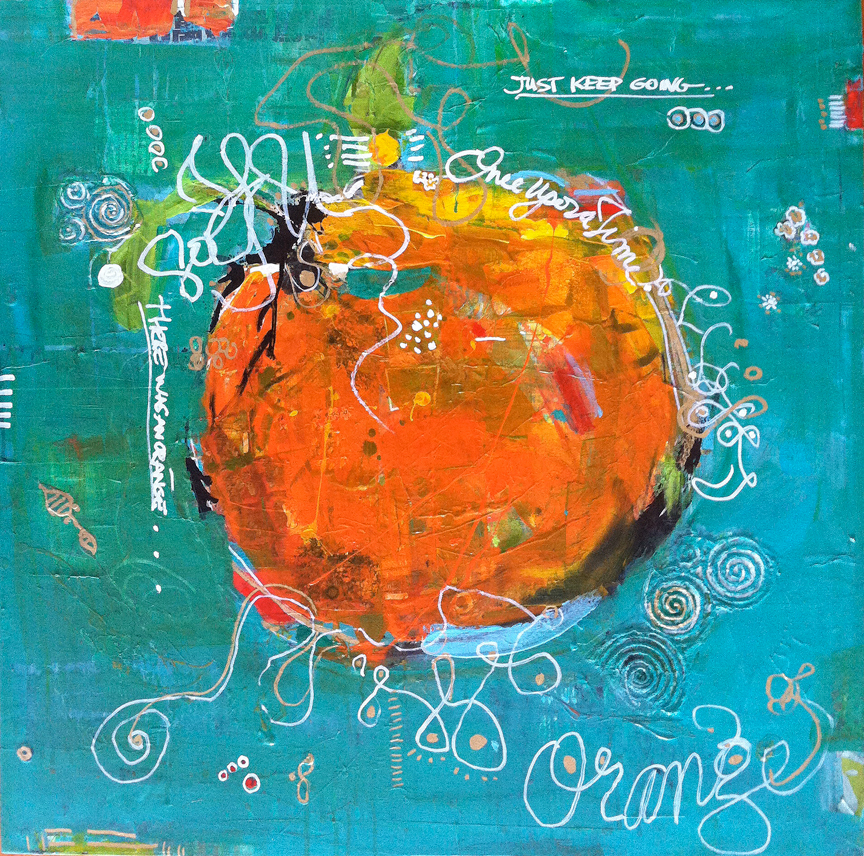 "There Was This Orange, mixed media on canvas, 30"" x 30"", ©KellieDay 2015"