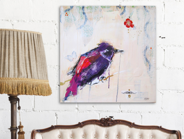 Today, purple bird print on canvas, ©Kellie Day