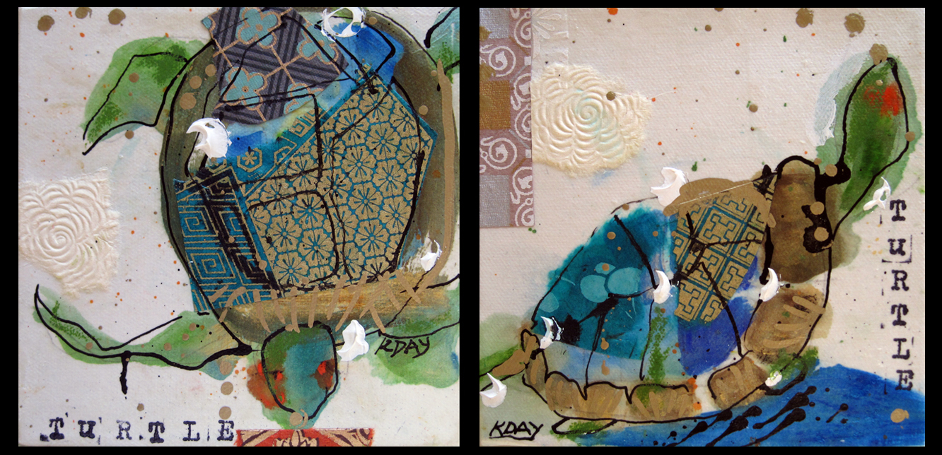 "Turtles, 6"" x 6"" each, mixed media on canvas, baby gifts ©2012"