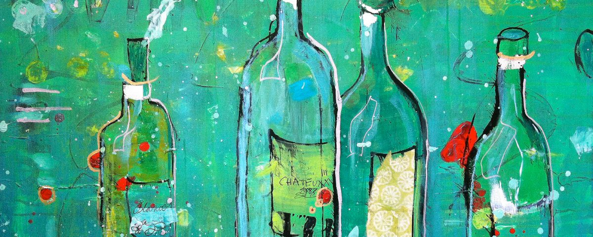 Vino Blanco, mixed media white wine painting on canvas ©Kellie Day