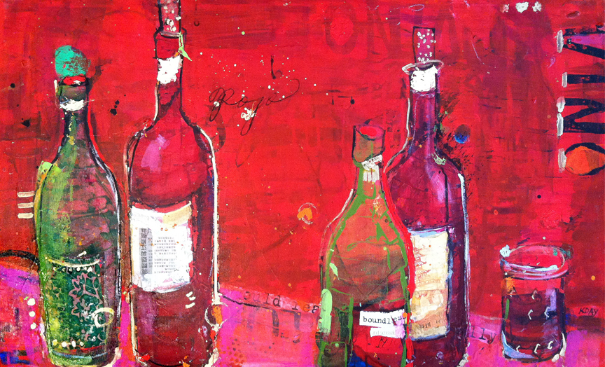 "Vino Rojo, mixed media on canvas by Kellie Day, 40"" x 24"", ©2014, $1,500"