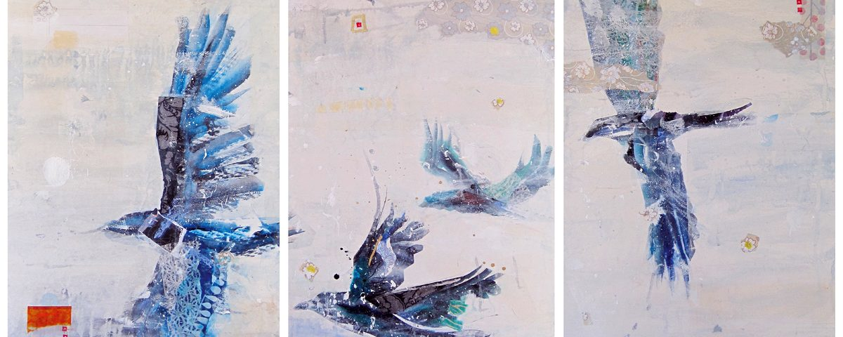 Winter Birds, mixed media bird painting on canvas ©Kellie Day