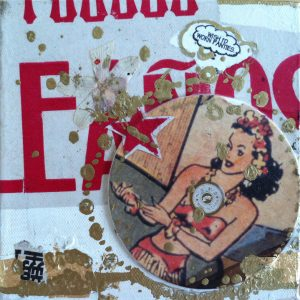 "Wish I'd Worn Panties, 6"" x 6"" collage with old coaster art, by Kellie Day"